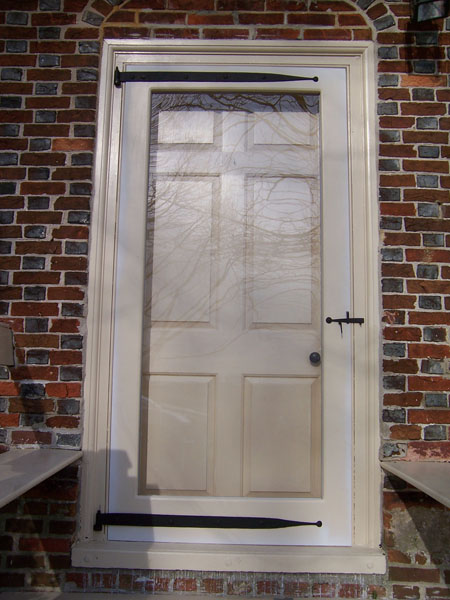 Storm Door with Wrought Iron Strap Hinges