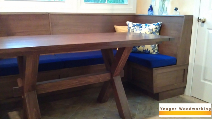 built in dining bench with trestle table - Built In Kitchen Table
