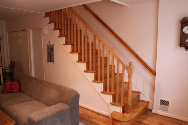 Stair Handrail And Newel A New Post Baers Were Installed To Close Off Open Side Staircase Made From Stock Red Oak Parts