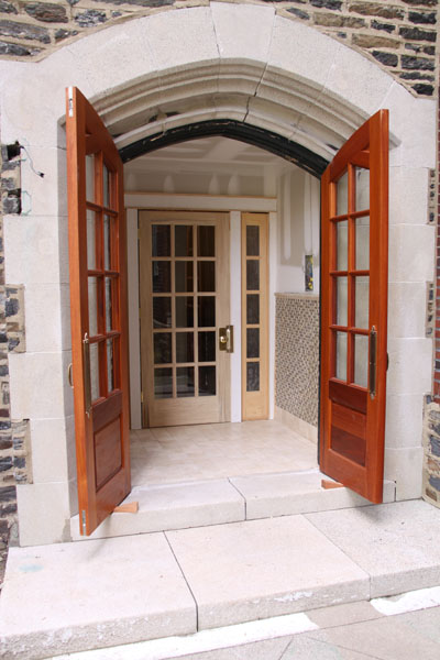 Gothic Arched Mahogany Doors and Foyer